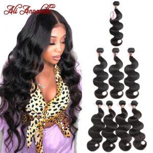 Ali Annabelle Hair Brazilian Body Wave Bundles 100 Human Hair weave 1 3 4 PCS Natural