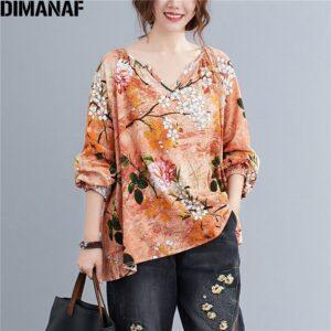 DIMANAF Linen T shirt Women Blouse Plus Size Summer Floral V Neck Casual Tops Shirts Vintage