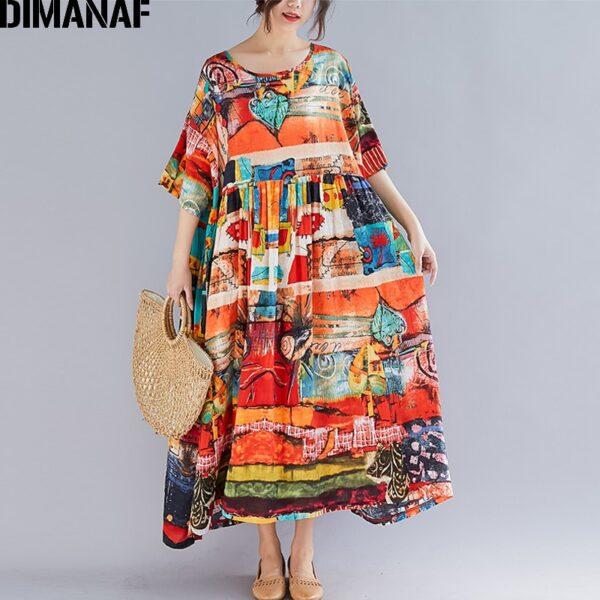 DIMANAF Plus Size Women Print Dress Summer Sundress Cotton Female Lady Vestidos Loose Casual Holiday Maxi