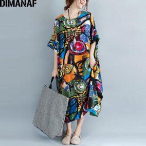 DIMANAF Women Dress Plus Size Summer Pattern Print Linen Colorful Female Loose Batwing Casual Retro Vintage
