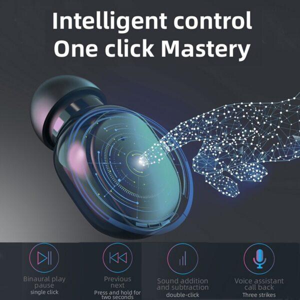 Wireless Headphones Bluetooth Earphones 5 1 TWS Headphones with Microphone Power Bank Clock LED Display Stereo 4