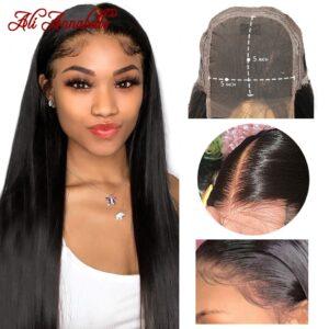 5x5 HD Lace Closure Wigs Brazilian Straight Human Hair Wigs Preplucked 13x1 Wig 28 inch Ali 1