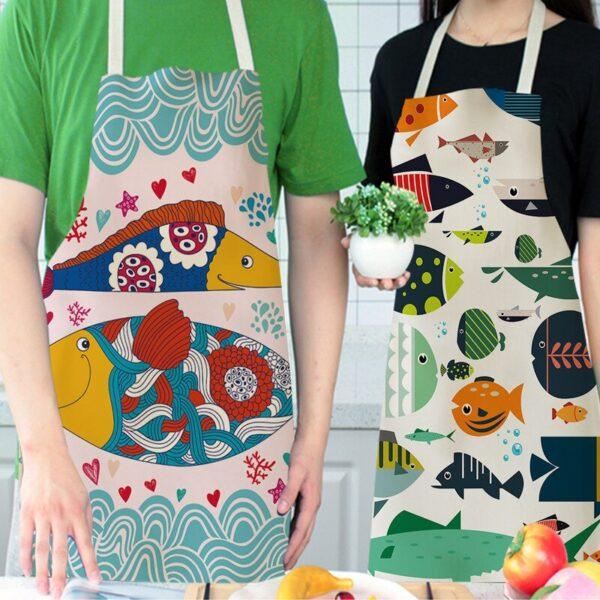 68 55cm Women Men Kitchen Aprons Housewife Apron Waterproof Cooking Oil proof Fish Cotton Linen Home 1