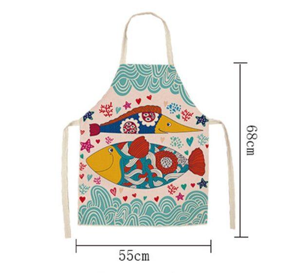 68 55cm Women Men Kitchen Aprons Housewife Apron Waterproof Cooking Oil proof Fish Cotton Linen Home 4