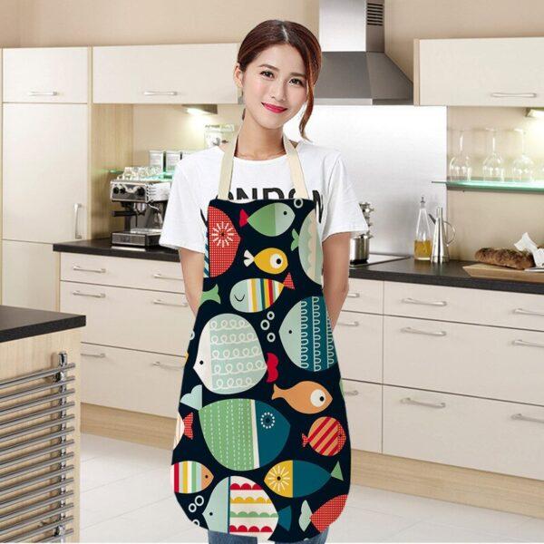 68 55cm Women Men Kitchen Aprons Housewife Apron Waterproof Cooking Oil proof Fish Cotton Linen Home