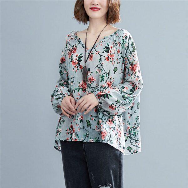 DIMANAF 2020 Plus Size Women Blouse Summer Linen T shirt Floral V Neck Casual Tops Shirts 1