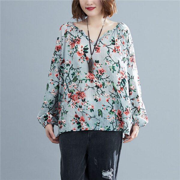 DIMANAF 2020 Plus Size Women Blouse Summer Linen T shirt Floral V Neck Casual Tops Shirts 2