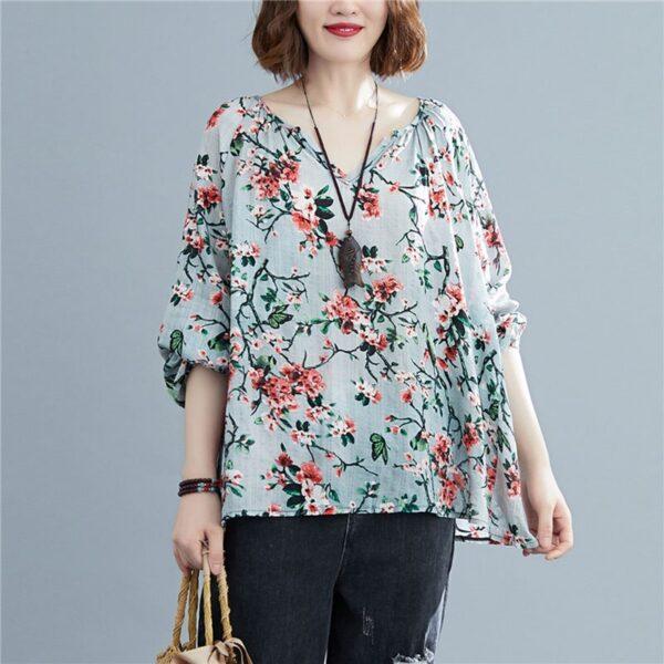DIMANAF 2020 Plus Size Women Blouse Summer Linen T shirt Floral V Neck Casual Tops Shirts 3