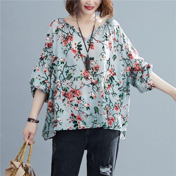 DIMANAF 2020 Plus Size Women Blouse Summer Linen T shirt Floral V Neck Casual Tops Shirts 4