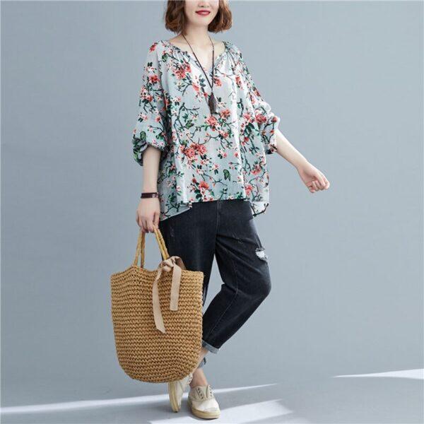 DIMANAF 2020 Plus Size Women Blouse Summer Linen T shirt Floral V Neck Casual Tops Shirts