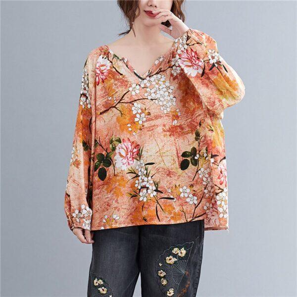 DIMANAF Linen T shirt Women Blouse Plus Size Summer Floral V Neck Casual Tops Shirts Vintage 1