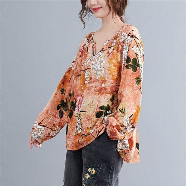 DIMANAF Linen T shirt Women Blouse Plus Size Summer Floral V Neck Casual Tops Shirts Vintage 2