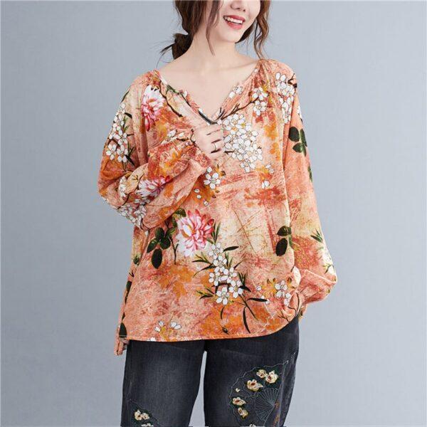 DIMANAF Linen T shirt Women Blouse Plus Size Summer Floral V Neck Casual Tops Shirts Vintage 3