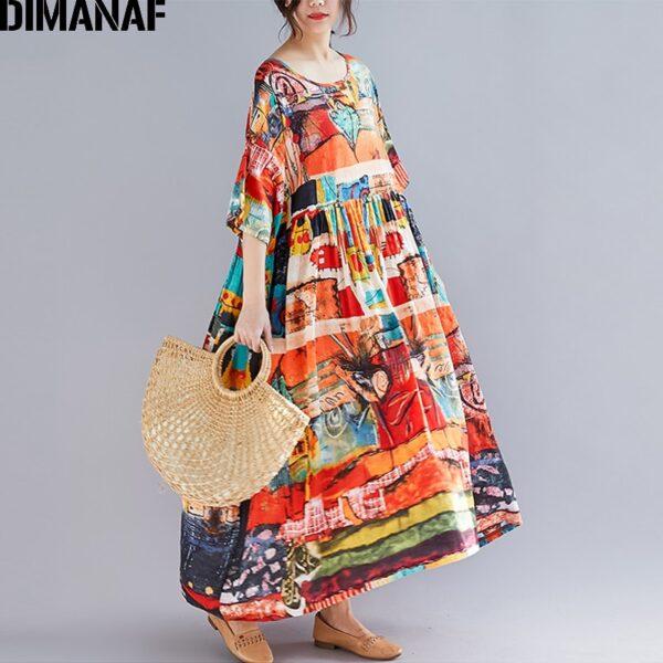 DIMANAF Plus Size Women Print Dress Summer Sundress Cotton Female Lady Vestidos Loose Casual Holiday Maxi 1