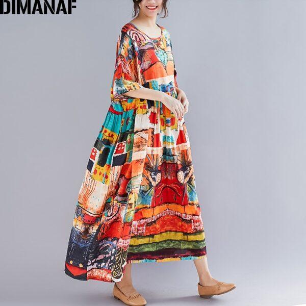 DIMANAF Plus Size Women Print Dress Summer Sundress Cotton Female Lady Vestidos Loose Casual Holiday Maxi 2