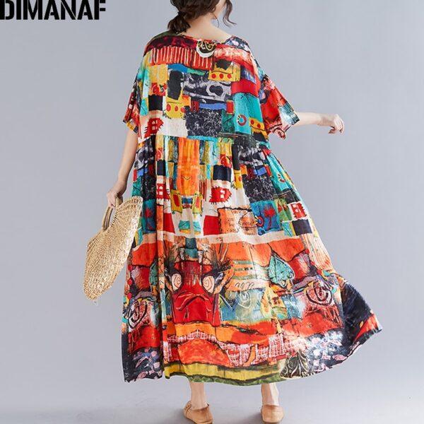 DIMANAF Plus Size Women Print Dress Summer Sundress Cotton Female Lady Vestidos Loose Casual Holiday Maxi 3
