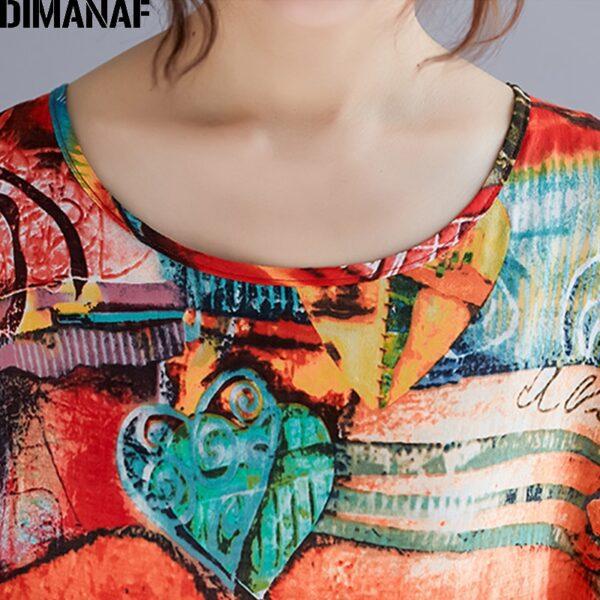 DIMANAF Plus Size Women Print Dress Summer Sundress Cotton Female Lady Vestidos Loose Casual Holiday Maxi 4
