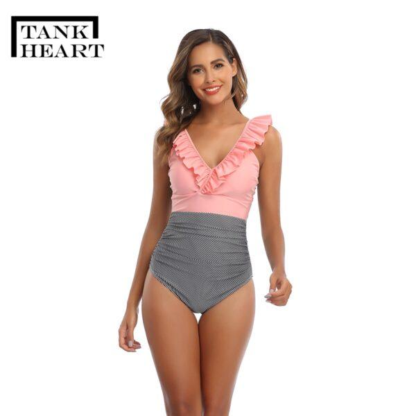Retro Swimsuit One piece Suit Plus Size Swimwear Sexy One piece Swim Suits women s swimwear 4
