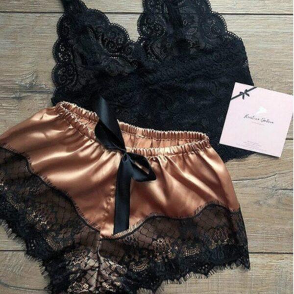 Women Pajamas Set Sexy Sleepwear Acrylic Short Sleeve Shorts V Neck Hollow Out Lace Nightwear Lingerie 2