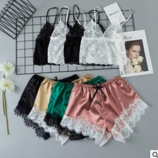 Women Pajamas Set Sexy Sleepwear Acrylic Short Sleeve Shorts V Neck Hollow Out Lace Nightwear Lingerie 3