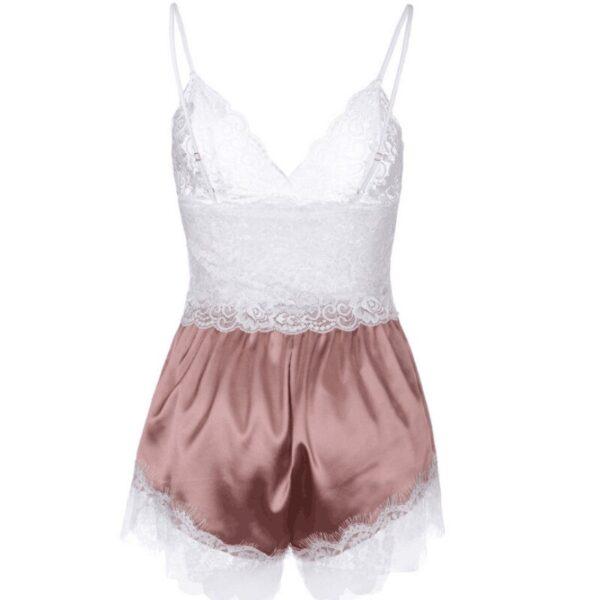 Women Pajamas Set Sexy Sleepwear Acrylic Short Sleeve Shorts V Neck Hollow Out Lace Nightwear Lingerie 4