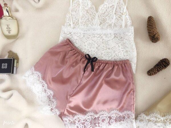 Women Pajamas Set Sexy Sleepwear Acrylic Short Sleeve Shorts V Neck Hollow Out Lace Nightwear Lingerie.jpg 640x640