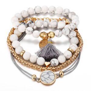 4Pcs set jewelry new love pine tassel boulder bracelet set 1
