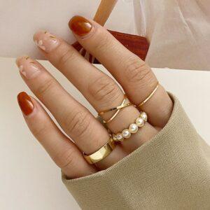 4pc gold ring set for women