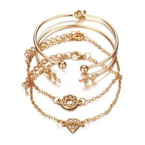 4pcs Bracelet Bangle Set for Women Diamond Round Leaf Charm