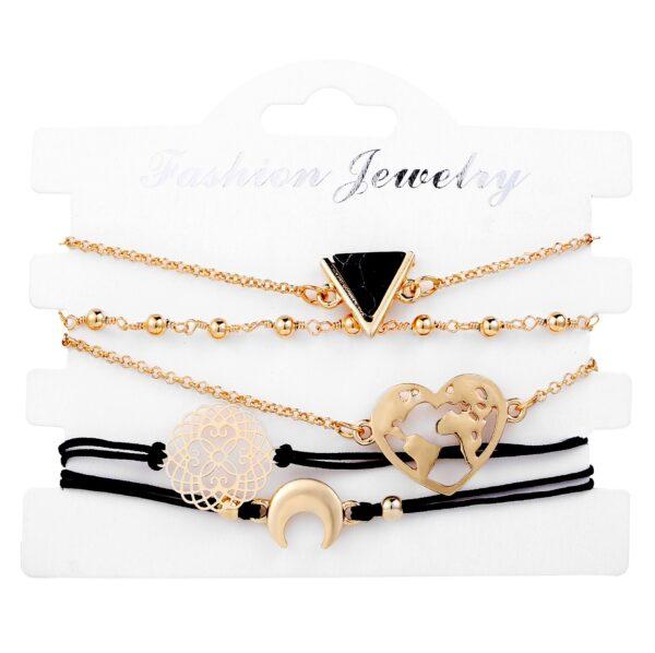 5 Pcs set New Triangle Heart Flower Ball Charm Bracelet for Women