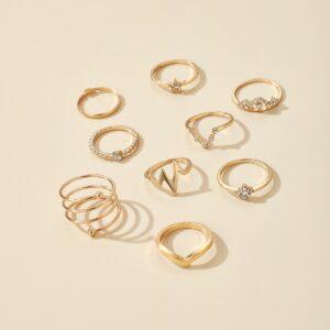 9 pcs gold ring set