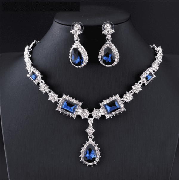 Blue Earrings Necklace Set Bridal Jewelry