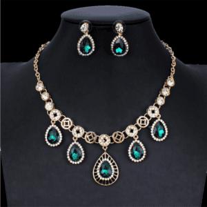 Green Earrings Necklace Set Bridal Jewelry