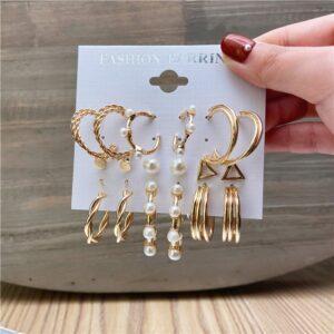 Set of 6 pairs Earrings Hoops