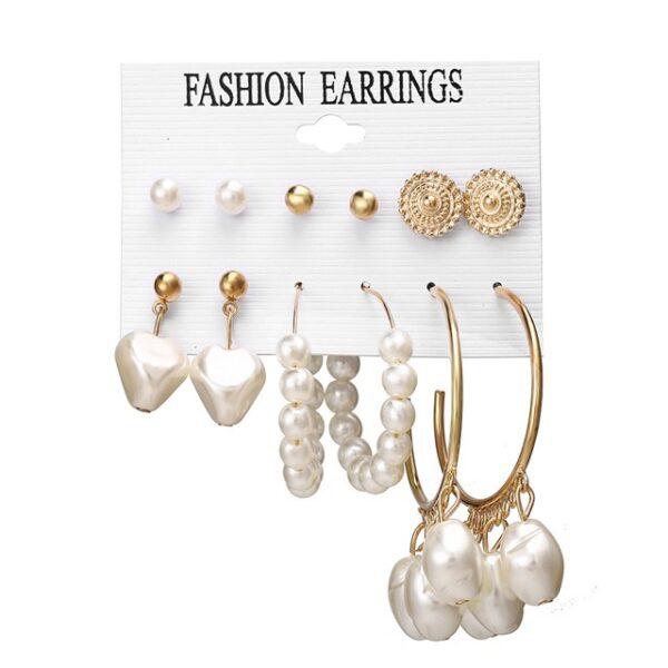 Set of 6 pairs Earrings Pearl hoop and studs