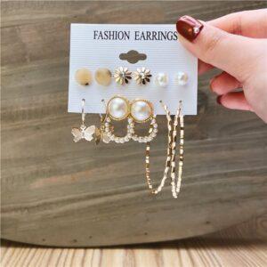Set of 6 pairs Earrings hoop and studs