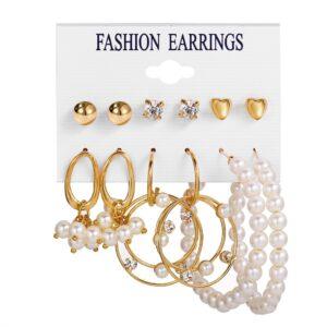 Set of 6 pairs Earrings hoop dropping studs