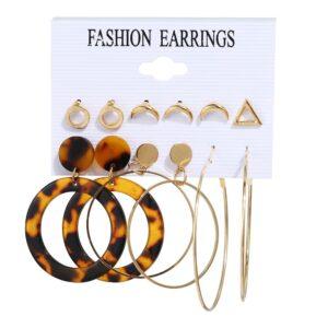 Set of 6 pairs Geometric Earrings hoop and studs
