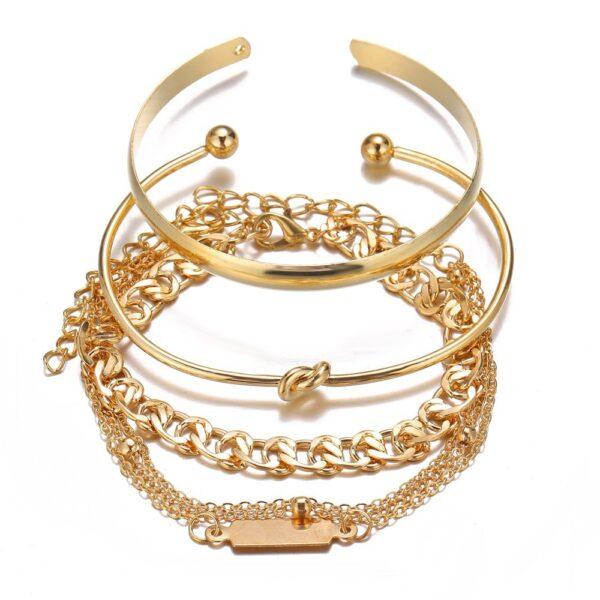 Trendy Set Gold Plated Knot Bracelet for Women