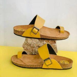 Birkin stock plain leather slide yellow7k