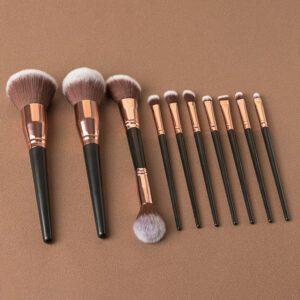 high quality 10pieces big head black handle makeup brush set